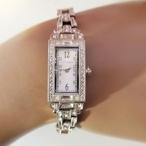 Betsey Johnson Silver Art Nouveau Thin Watch